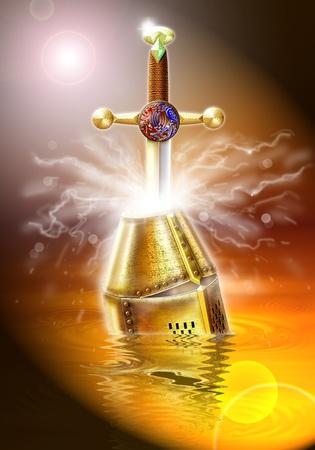 merlin: Photoshop aer�grafo ilustraci�n inspirada en la leyenda del Rey Arturo. N�mero 2 de una serie de cinco im�genes de producci�n original para un libro.
