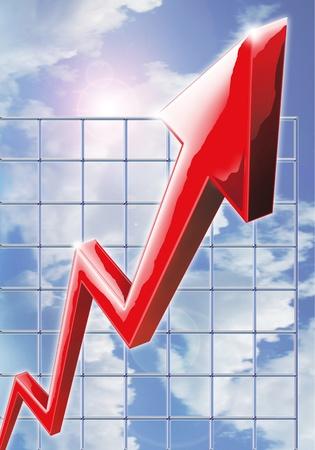 perdidas y ganancias: Ilustración que refleja el aumento de las ganancias, excelente rendimiento y el éxito empresarial Foto de archivo
