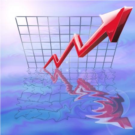margen: Ilustraci�n que refleja el aumento de las ganancias, excelente rendimiento y el �xito empresarial Foto de archivo