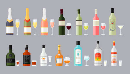 vermouth: Set of different bottles of alcohol drinks with glasses