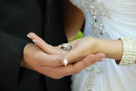 wedding ring hands: Bride   Groom holding wedding rings