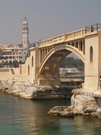 alexandria egypt: Alexandria, Egypt. Bridge near the King bay Stock Photo