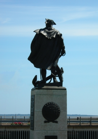 eire: View of statue of John Barry looking out to sea in Wexford town Editorial
