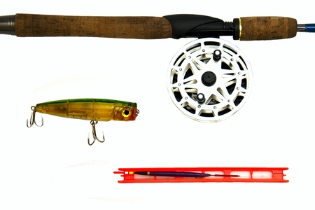 Fishing gear isolated on white background photo
