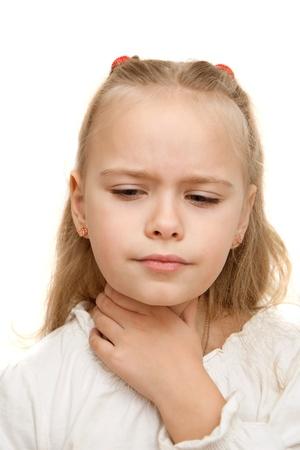 pharyngitis: Little girl has a sore throat, white background Stock Photo