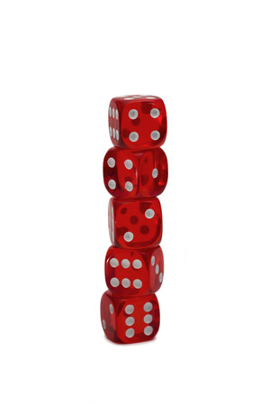 Five dices isolated on white photo