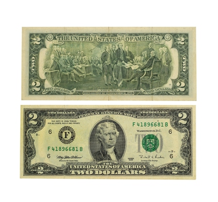 two us dollar: Two dollars bill isolated on white