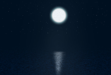 moonshine: Art Abstract night background with moon and stars over the water
