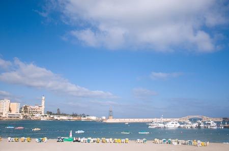 june 25: ALEXANDRIA, EGYPT - JUNE 25, 2015: The large fishing port in the Eastern Harbor of Alexandria