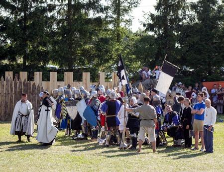middlesex: MINSK, BELARUS - JULY 25, 2015: Historical restoration of knightly fights of Battle of Grunwald