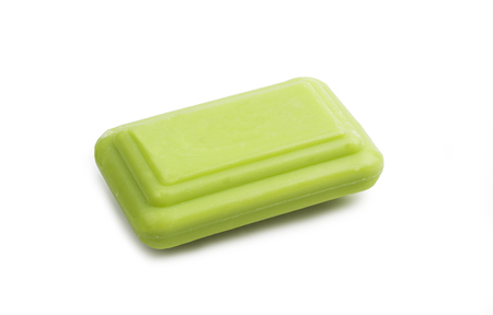 Green Soap Bar. Isolated on the white background.