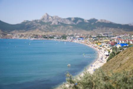 tilt views: Panorama of Koktebel resort town in Crimea at summer