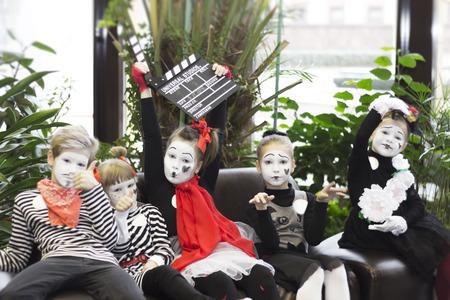 Minsk, Belarus - November 11, 2016: Children as mimes Film Festival Listapadzik Editorial