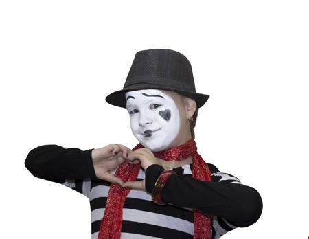 Meisje zoals mime acteur op een witte achtergrond
