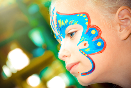 Pretty Girl Child with face painting. Make up