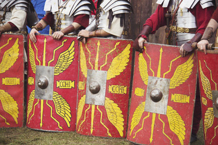 The line of Roman legionaries is preparing for fight