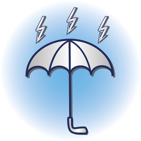 White papercut umbrella icon with lightning. Vector illustration.