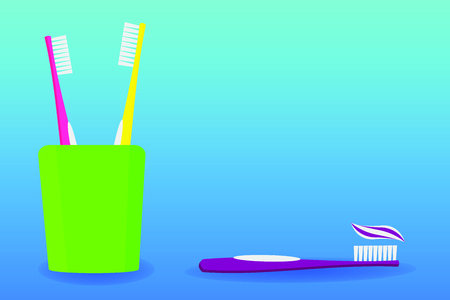 Glass with toothbrushes and toothpaste. Vector illustration. Dental care.