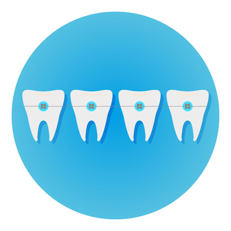 Teeth with braces icon dentist flat vector with long shadow sign. Symbol for mobile user. Illustration