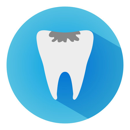 Tooth Caries long shadow vector icon. Style is a flat tooth caries on blue background.