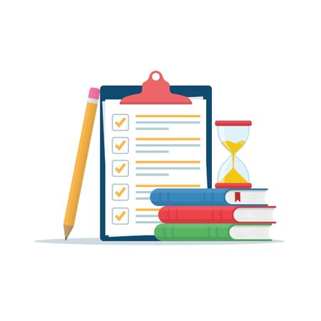 Exam preparation at school or university. Examination concept checklist and hourglass, choosing the form of the answer questionnaire, education vector flat illustration. Online training.