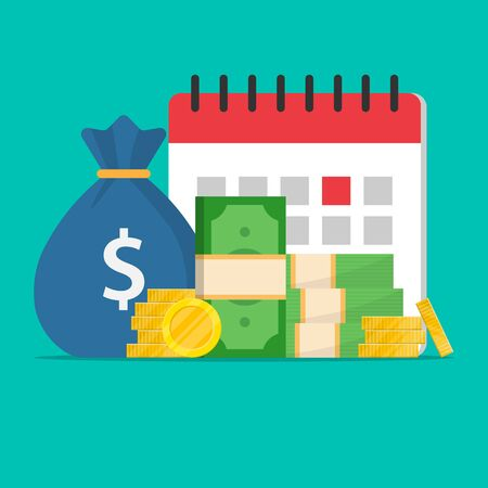 money and a calendar in the background.dollars,banknotes,coins and a bag of money.agenda and notification of the date of notification,the idea of tax or credit time or credit,budget or planning.