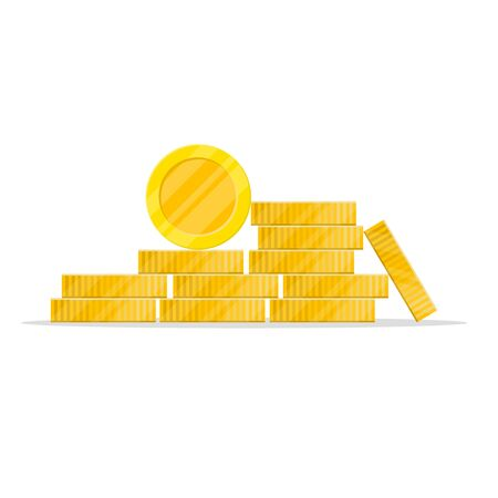 stack of coins in a flat style.golden pile of penny money, pile of treasures, stock vector isolated on white background.10 eps.