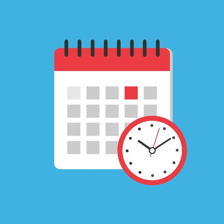 Calendar and clock icon. Flat illustration vector icon for web. planning concept. Reminder Agenda. Holiday planner .