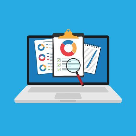 on a laptop screen. Audits research icon vectors, financial report data analysis, analytics accounting concept with charts and diagrams. Clipboard vector template. Vector illustration.