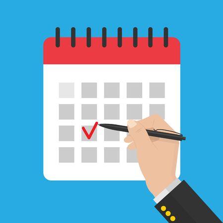 zakenman hand met pen .mark kalender. rood vinkje. voorraad vectorillustratie in vlakke style.10 eps. Vector Illustratie