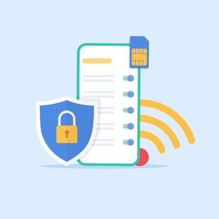 concept de paramètres réseau et Internet sur un téléphone mobile. icône de carte wifi et sim. bouclier avec un cadenas au premier plan. réseau et smartphone protection.stock illustration vectorielle.