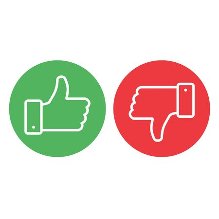 Thumbs up thumbs down red and green isolated vector like social media signs.stock vector illustration isolated on white background. Иллюстрация