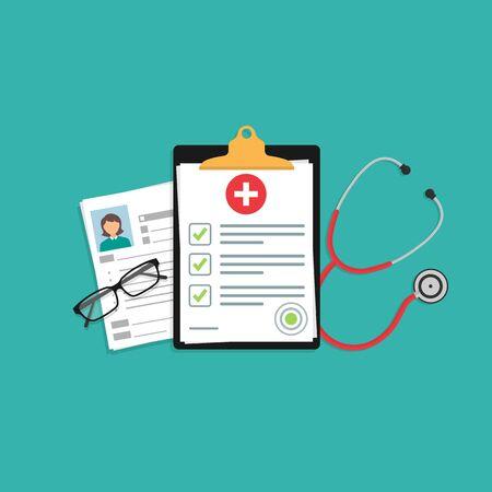 documento o contratto di assicurazione medica. Esame medico o conclusione. stetoscopio, occhiali sul desktop. illustrazione vettoriale d'archivio 10 eps.