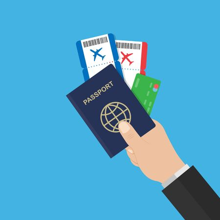 hand holds passport airline tickets and credit card. flat style red and blue. stock vector illustration. 10 eps