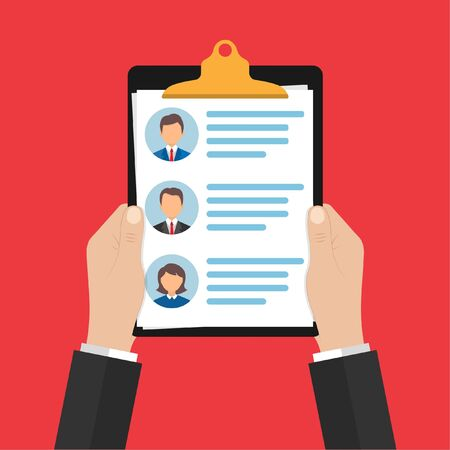in the hands of the personnel manager is a list of candidates for the workplace with a brief summary of each of the principals. selection of employees. Vector illustration. 10 eps. Ilustrace