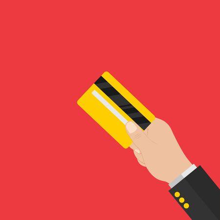 Hand holding credit card. Credit card back side. Modern flat design. Vector illustration.10 eps.