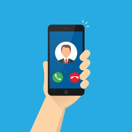 Incoming call on the smartphone screen with the image of the caller. Phone in a human hand. Vector illustration Isolated on blue background. 10 eps
