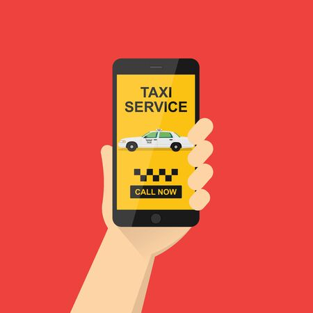 hand holds a mobile phone with the application on the screen. Taxi service application on a smartphone to order services. yellow taxi.vector illustration.10 eps. Ilustração Vetorial