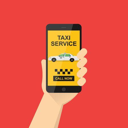 la mano tiene un telefono cellulare con l'applicazione sullo schermo. Applicazione del servizio taxi su smartphone per ordinare servizi. giallo taxi.vector illustration.10 eps. Vettoriali