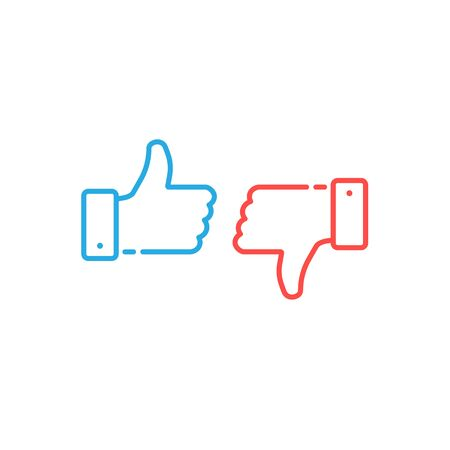 Thumbs up and down icons. Blue button, red button. Simple linear stroke, outline style. Set of vector line icons isolated on white background.