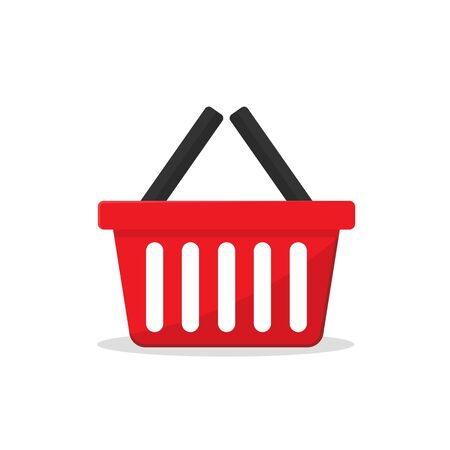 red plastic supermarket basket empty.vector illustration isolated on white background.10 eps. Ilustrace
