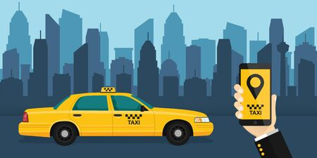hand holds a mobile phone with the application on the screen. Taxi service application on a smartphone to order services. yellow taxi on the background of the city.vector illustration.10 eps.