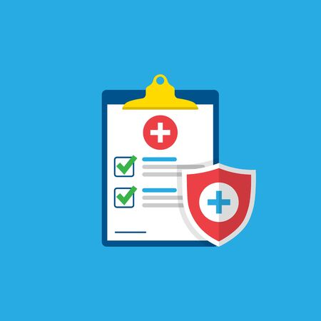 Medical form, medical report. Clipboard with a cross, checkmarks. Shield with a cross. Informed consent, prescription, application, medical insurance.Vector illustration.10 eps. Ilustrace