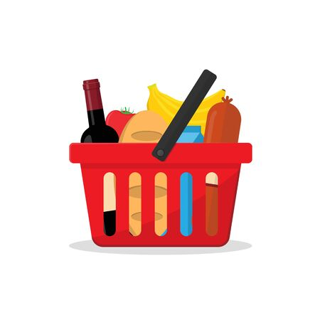 red basket with a set of products from a shop or a supermarket. bottle of wine, a loaf of bread, a packet of milk, a bunch of bananas, sausage and tomato. flat vector illustration in cartoon style. Banque d'images - 137896475