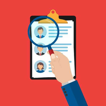 a list of candidates for the workplace with a brief summary of each of the principals. selection of workers. hand holds a magnifying glass. search. Vector illustration isolated on a white background. Ilustrace