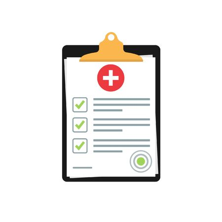 medical insurance document or contract. Medical report. Clipboard vector template. stock vector illustration isolated on white background.