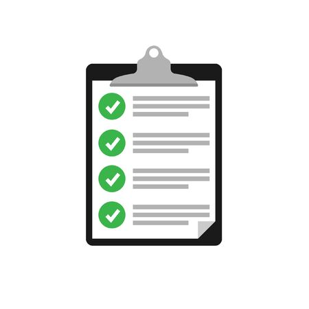 clipboard checklist. Clipboard with checklist icon for web with green check boxes.isolated on white background.10 eps.