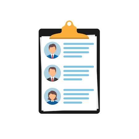 a list of candidates for the workplace with a brief summary of each of the principals. selection of employees. Vector illustration isolated on a white background.10 eps. Ilustrace