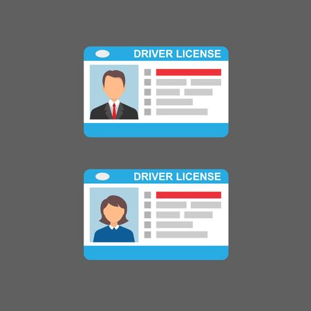 Driving license flat icon. Male and female license. Vector illustration.10 eps.