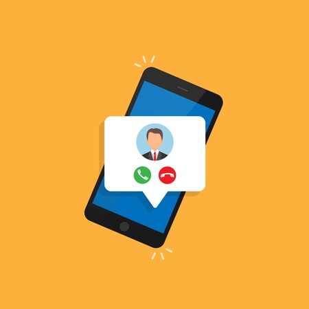 Incoming call on the screen of a smartphone with the image of the caller. Vector illustration isolated on a orange background. 10 eps